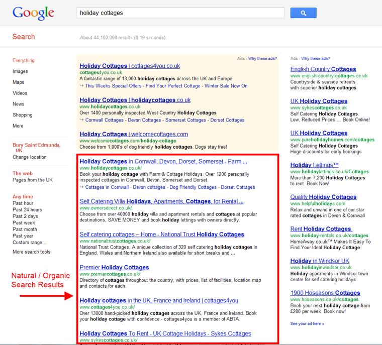 Google Organic Listings